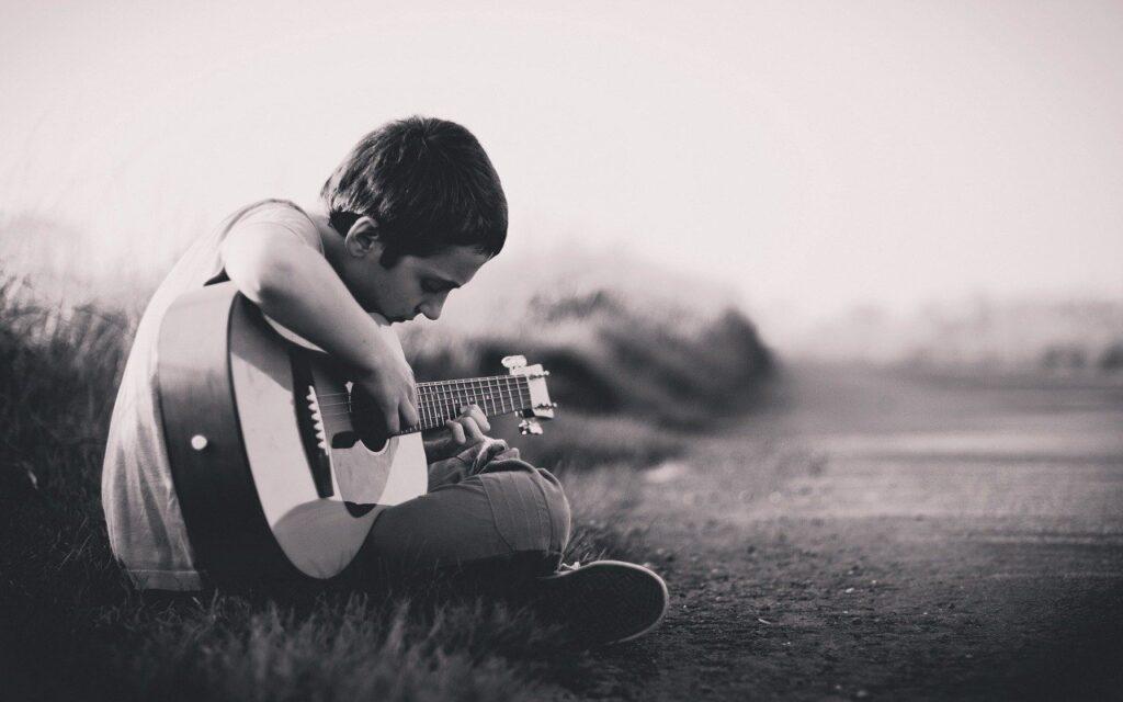 boy, guitar, sitting
