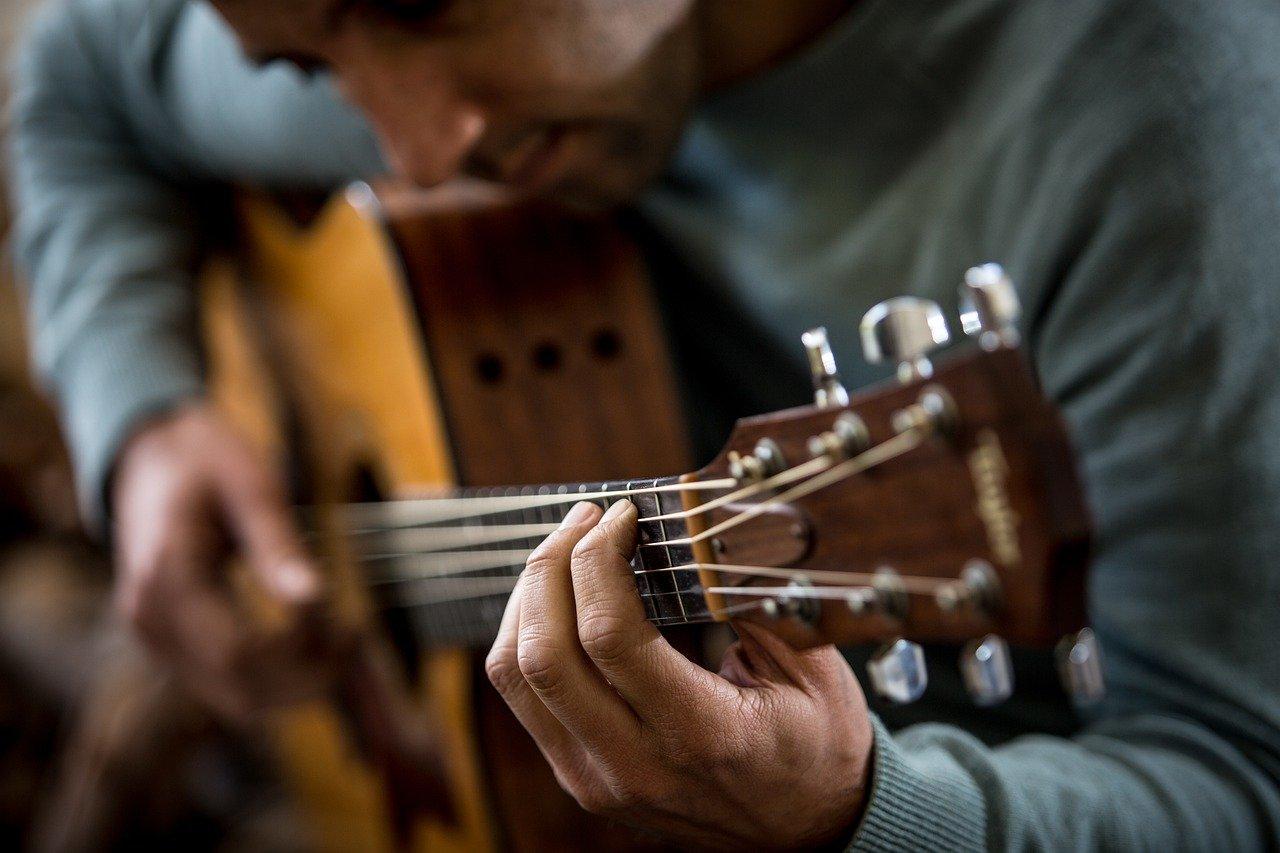 guitar, player, music